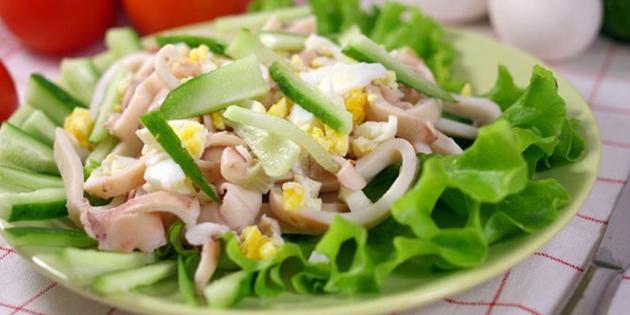 Самый вкусный салат из кальмаров + рецепты простых салатов