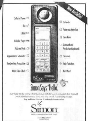 Самый первый сенсорный телефон в мире - ibm simon